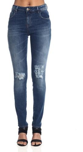 calça feminina jeans skinny cintura média destroyed mormaii