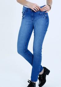 f8b576f47 Calça Feminina Jeans Skinny Detalhe Pérolas Ref. D10a! Nova