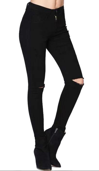 acf9e1e06 Calça Feminina Juvenil Jeans Rasgada Destroyed Preta M1 - R  59