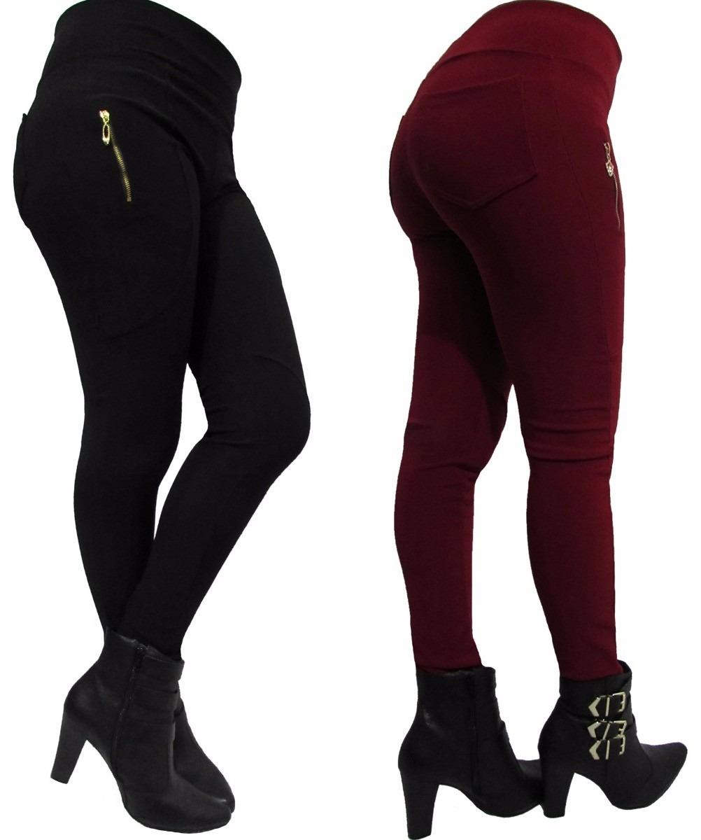 467144139 calça feminina legging montaria cós alto zíper e bolsos. Carregando zoom.