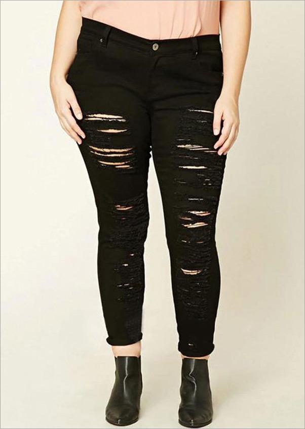 a7ee96e328 calça feminina rasgada preta destroyed jeans toda rasgada. Carregando zoom.