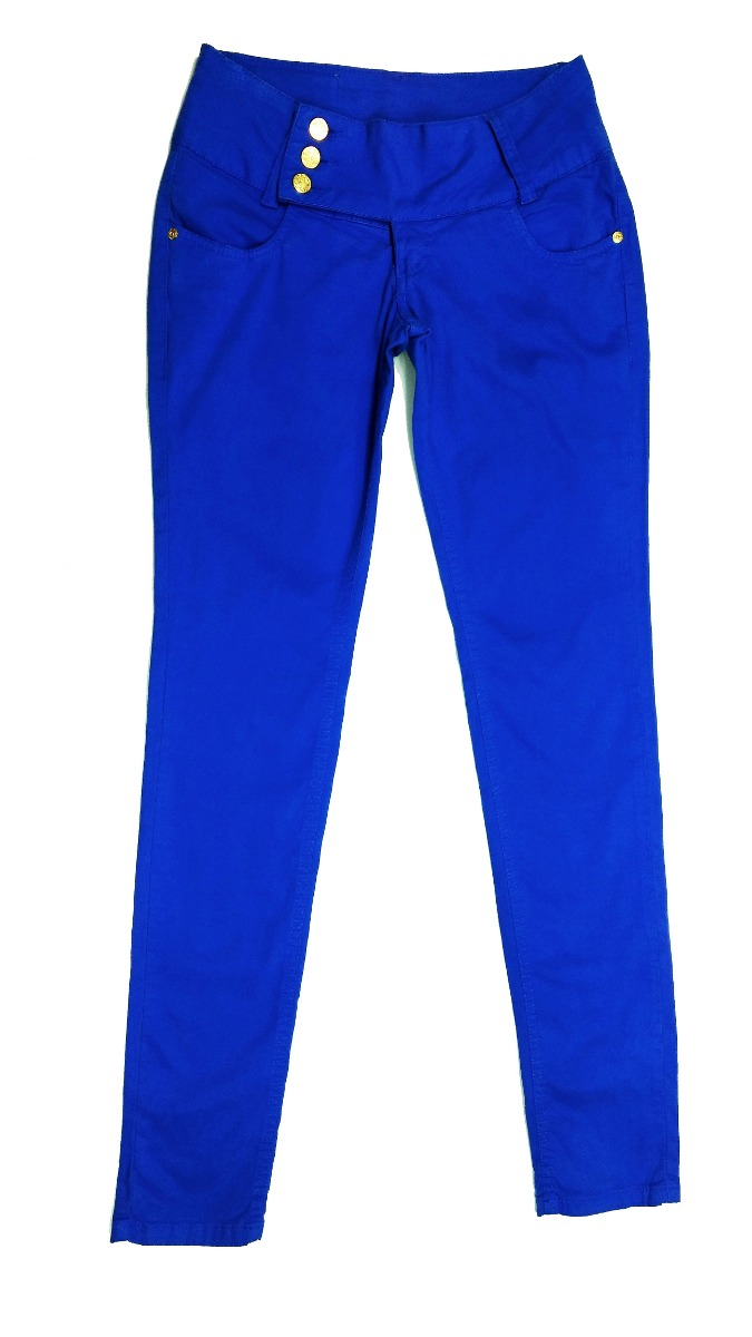 021ceda7c calça feminina sarja skinny jeans revanche colorida azul. Carregando zoom.