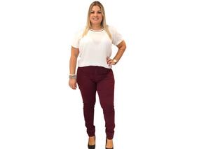 735ad6ad0 Calca Color Vinho Plus Size Calcas - Calças Feminino no Mercado ...
