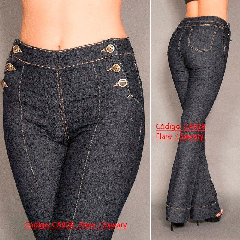 b68555da96 calça feminina sawary jeans preta lycra 928 flare boca sino. Carregando  zoom.