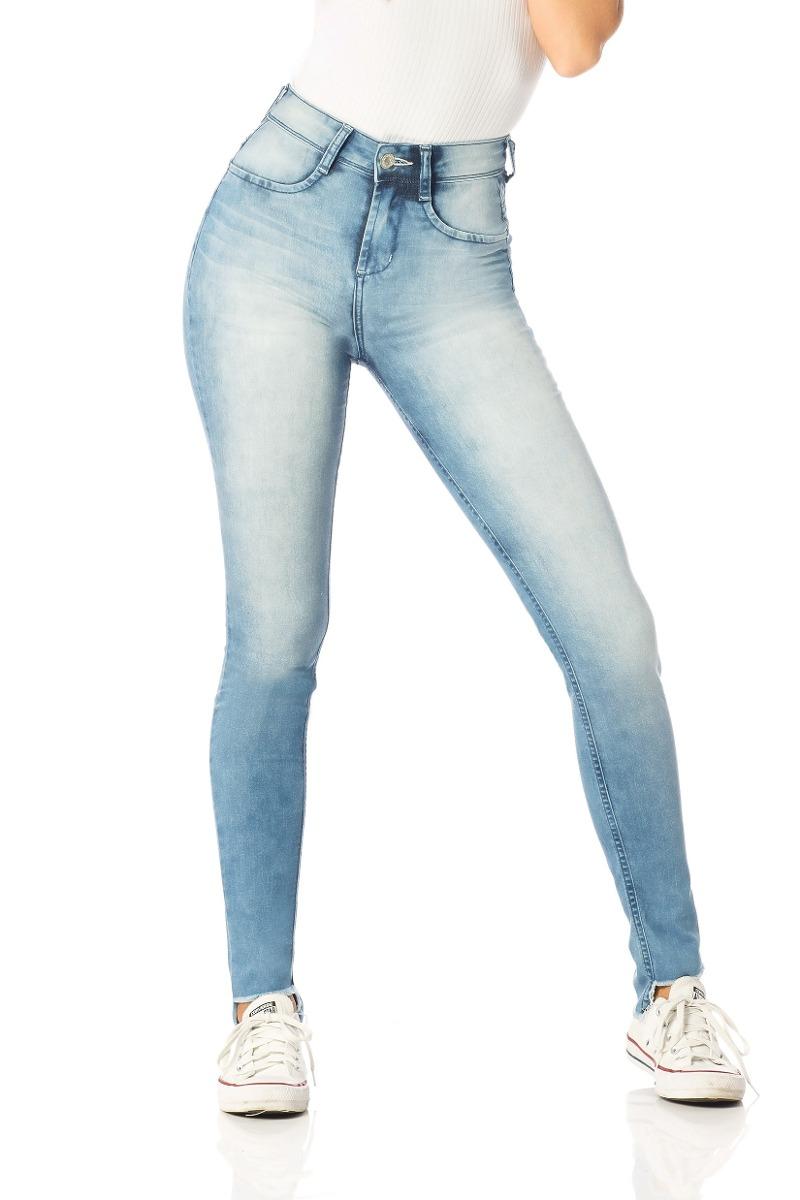 calça feminina skinny média barra mullet denim zero-dz2546. Carregando zoom. c5e4a8175f941