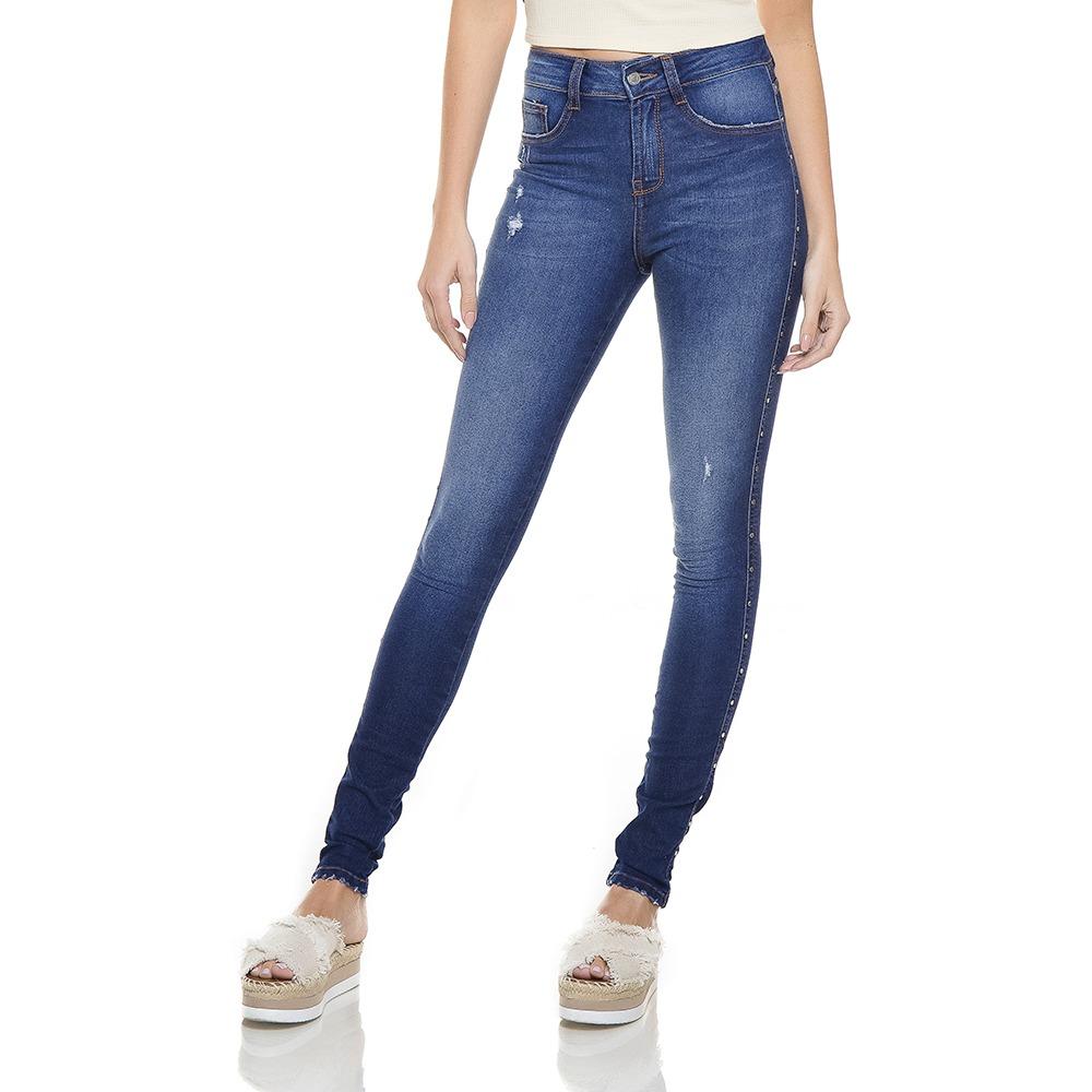 calça feminina skinny média com metais denim zero - dz2765. Carregando zoom. 2a29dc923031a