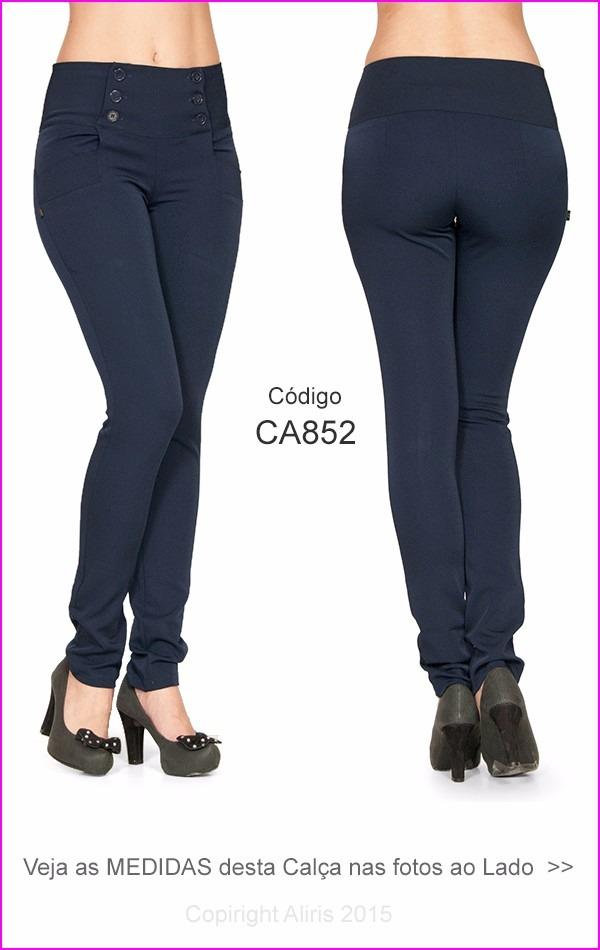 9767d168f calça feminina social azul 852 com lycra uniformes cós largo. Carregando  zoom.