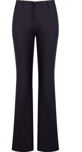 calça feminina social flare compact cotton bolso traseiro se