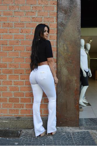calça feminina sol flare cintura média com lycra branca