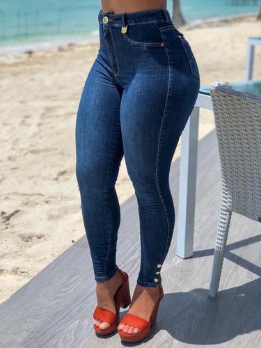 calça feminina sol jeans cigarrete cintura alta com lycra azul