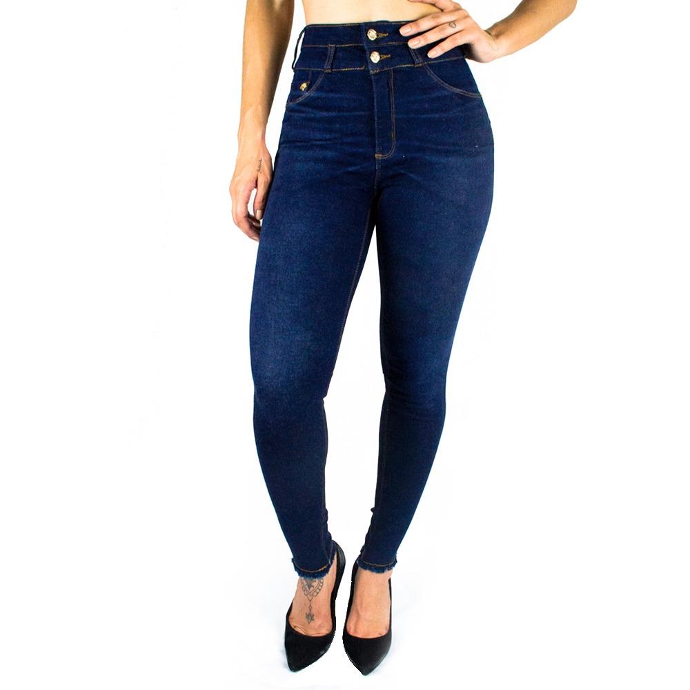 67095c44e9 calça feminina sol jeans cigarrete hot pants com lycra azul. Carregando  zoom.