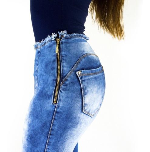 calça feminina sol jeans hot pants cós desfiado com lycra az