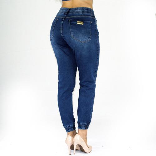 calça feminina sol jeans jogger cintura elástico com lycra a