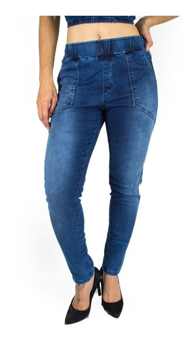 calça feminina sol jeans jogger elástico cintura com lycra a