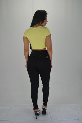 calça feminina sol jeans skinny cintura alta com lycra preta