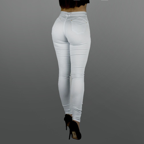 calça feminina sol skinny cintura alta com lycra branca