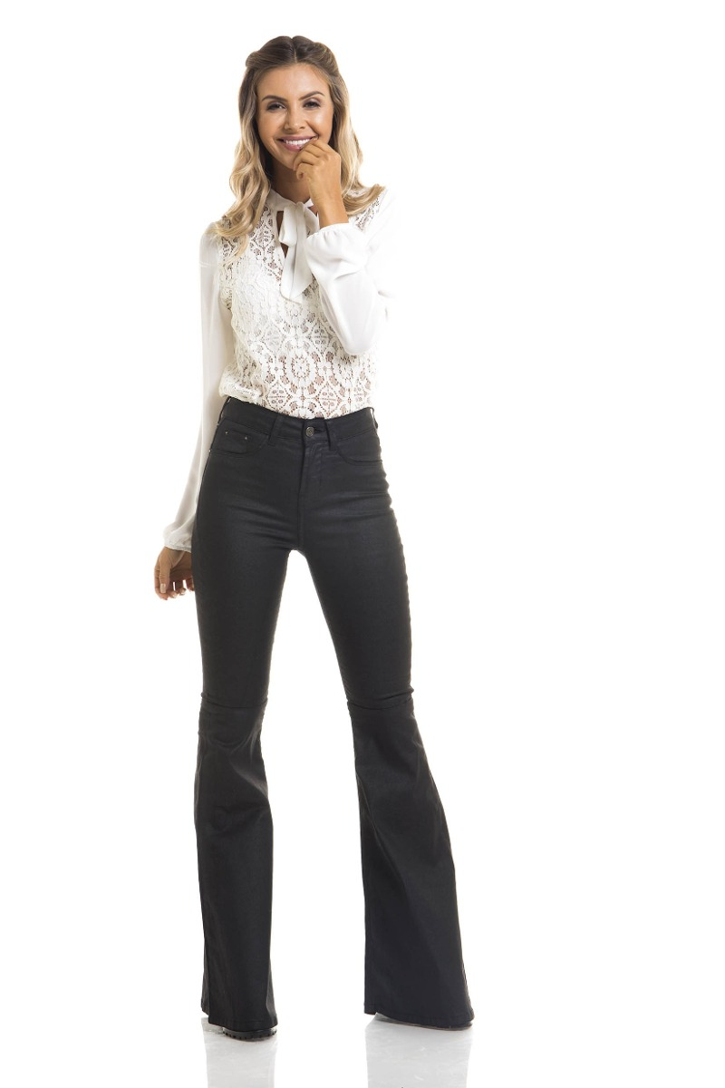 calça feminina super flare média resinada denim zero-dz2699. Carregando  zoom. 4cb875b2c4d
