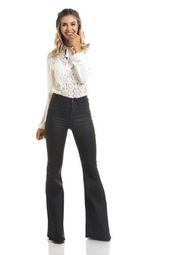 calça feminina super flare média resinada denim zero-dz2699