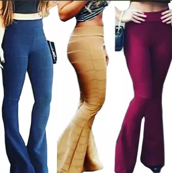 236313e8b0 Calça Flare Bandagem Cintura Alta Moda Roupas Femininas - R  65