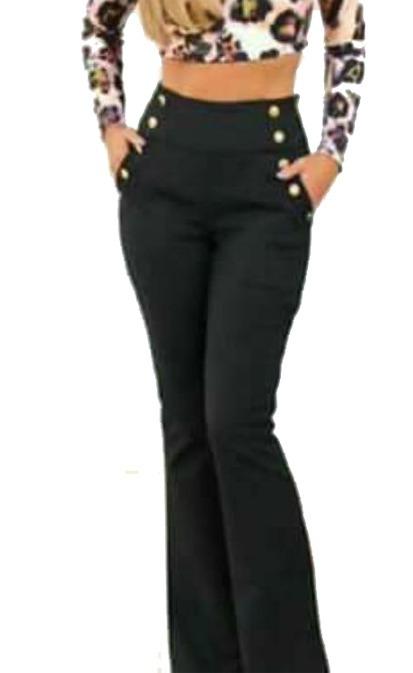 445eb7432 Calça Flare Feminina Botões Dourados Bengaline Cintura Alta - R$ 47 ...