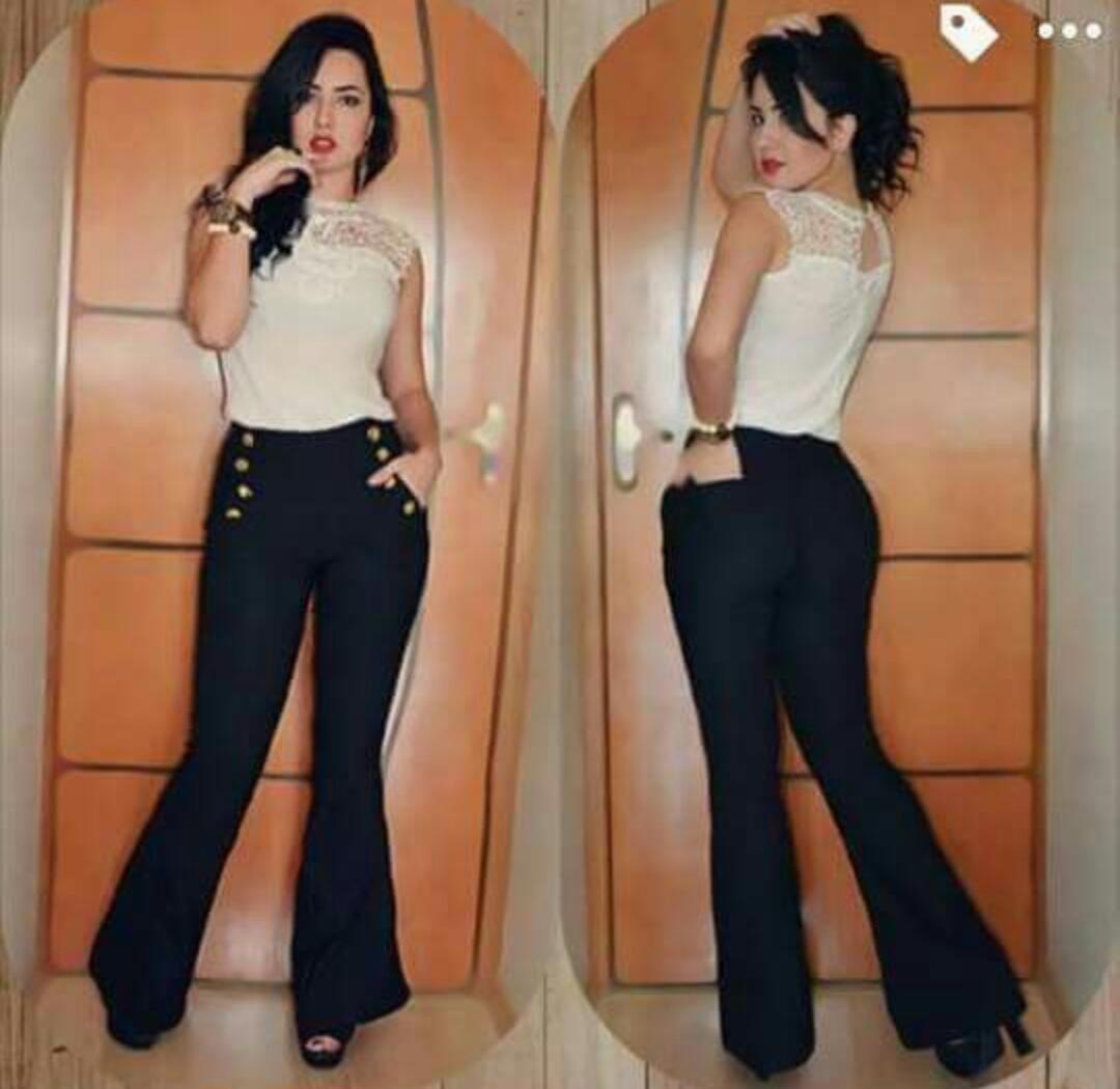 3345ca60d calça flare feminina botões dourados bengaline cintura alta. Carregando  zoom.