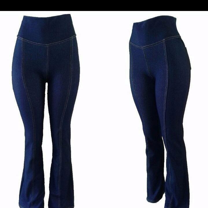 5aabaa503160fa Calça Flare Imita Jeans Viscose Moda Gestante Grávida