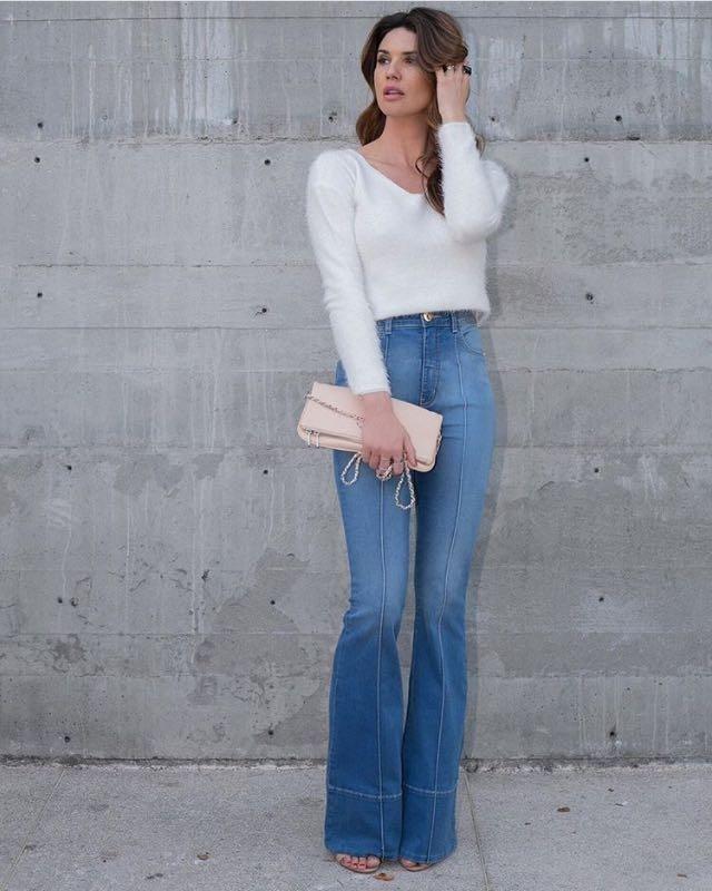 008ef86b1 Calça Flare Jeans Cintura Alta - R$ 119,90 em Mercado Livre