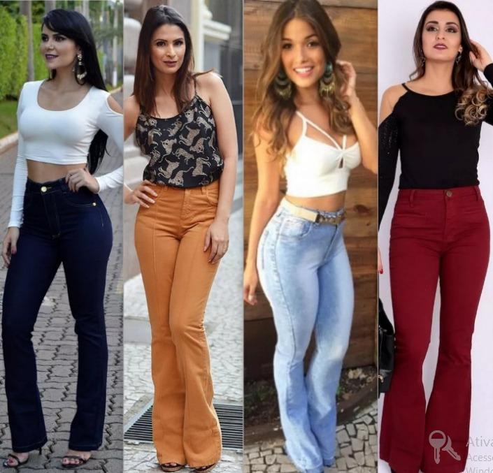 72e2ec87e Calça Flare Jeans Cintura Alta Hot Pant + Calcinha De Brinde - R$ 84 ...