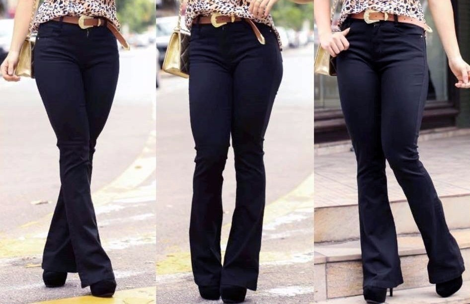 6241c91d6 calça flare jeans cintura alta hot pant moda feminina+brinde. Carregando  zoom.