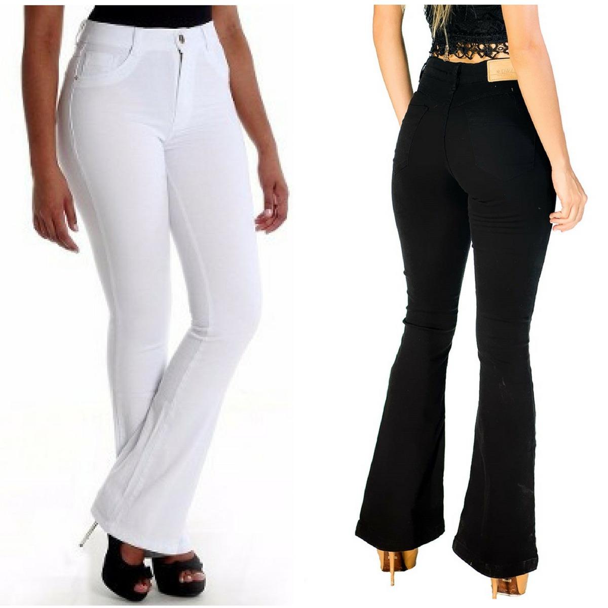 8ec3206b7 calca flare jeans feminina branca ou preta cintura alta 2018. Carregando  zoom.