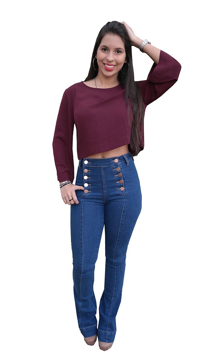 fb0ed9c45 calça flare jeans feminina clara ou escura cintura alta. Carregando zoom.