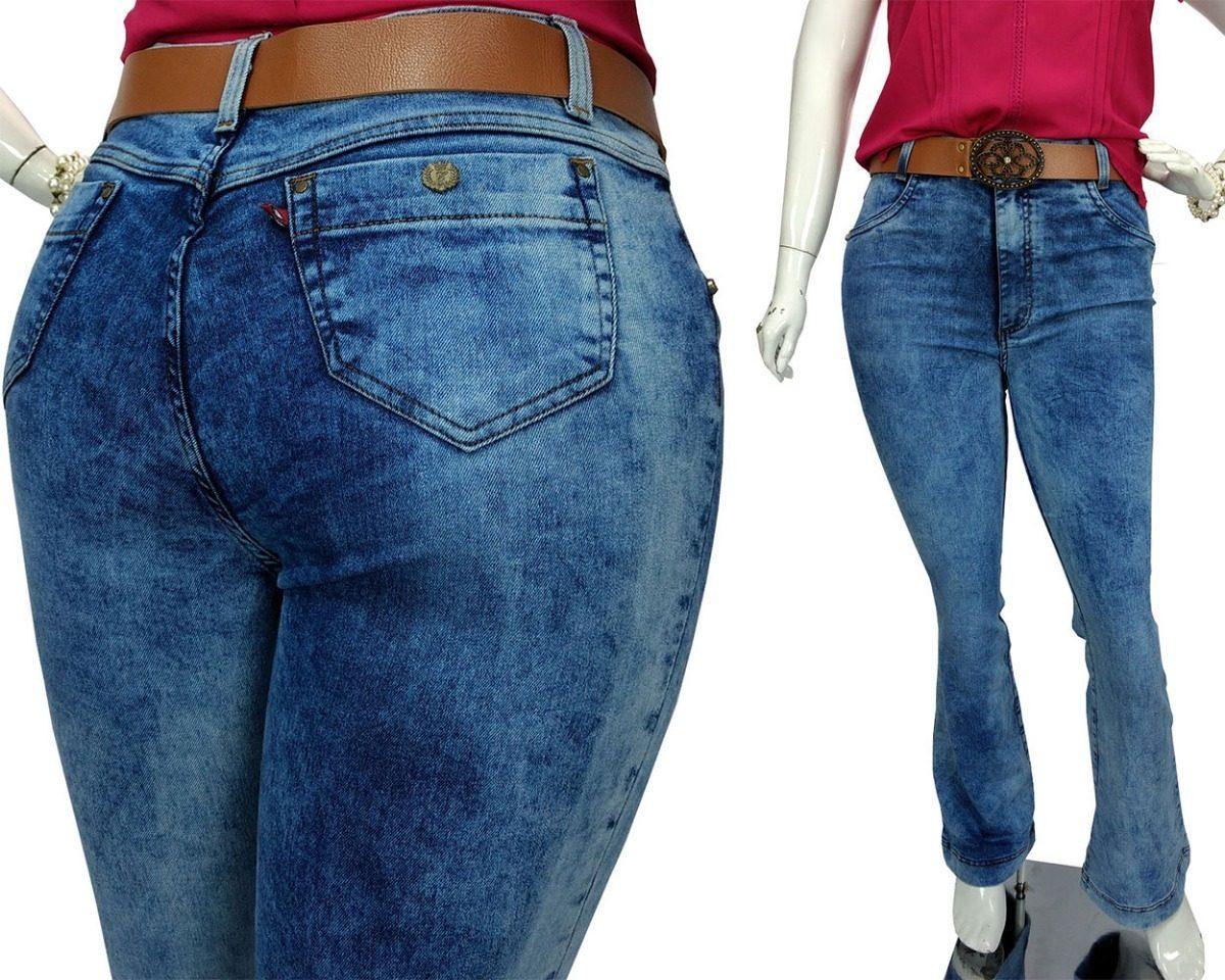 f05e3c5cd065d7 Calça Flare Plus Size Jeans Delavê Alta Roupas Femininas
