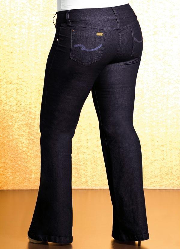 862b721df Calça Flare Plus Size Jeans Quintess - R$ 147,90 em Mercado Livre