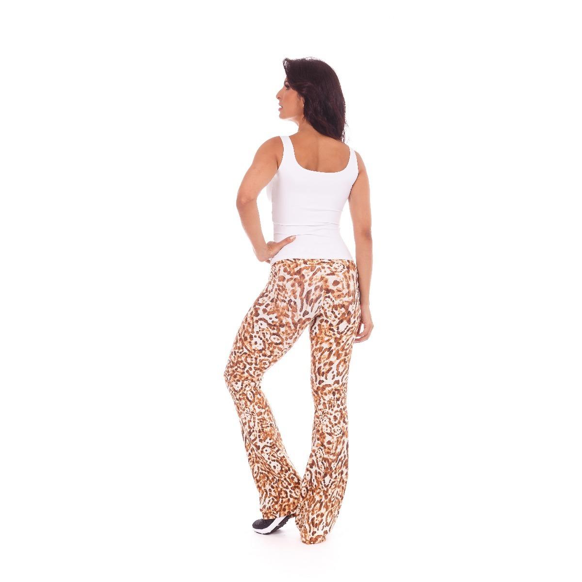 calça flare trend estampado onça - lm7 fitness wear. Carregando zoom. 62631767201