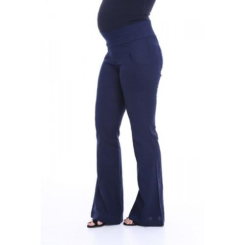 calça gestante linho bolso sobreposto flare para grávida