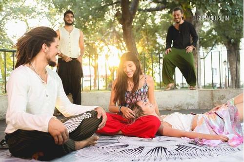 calça goa unissex c bolsos em couro, hippie, psytrance, thai