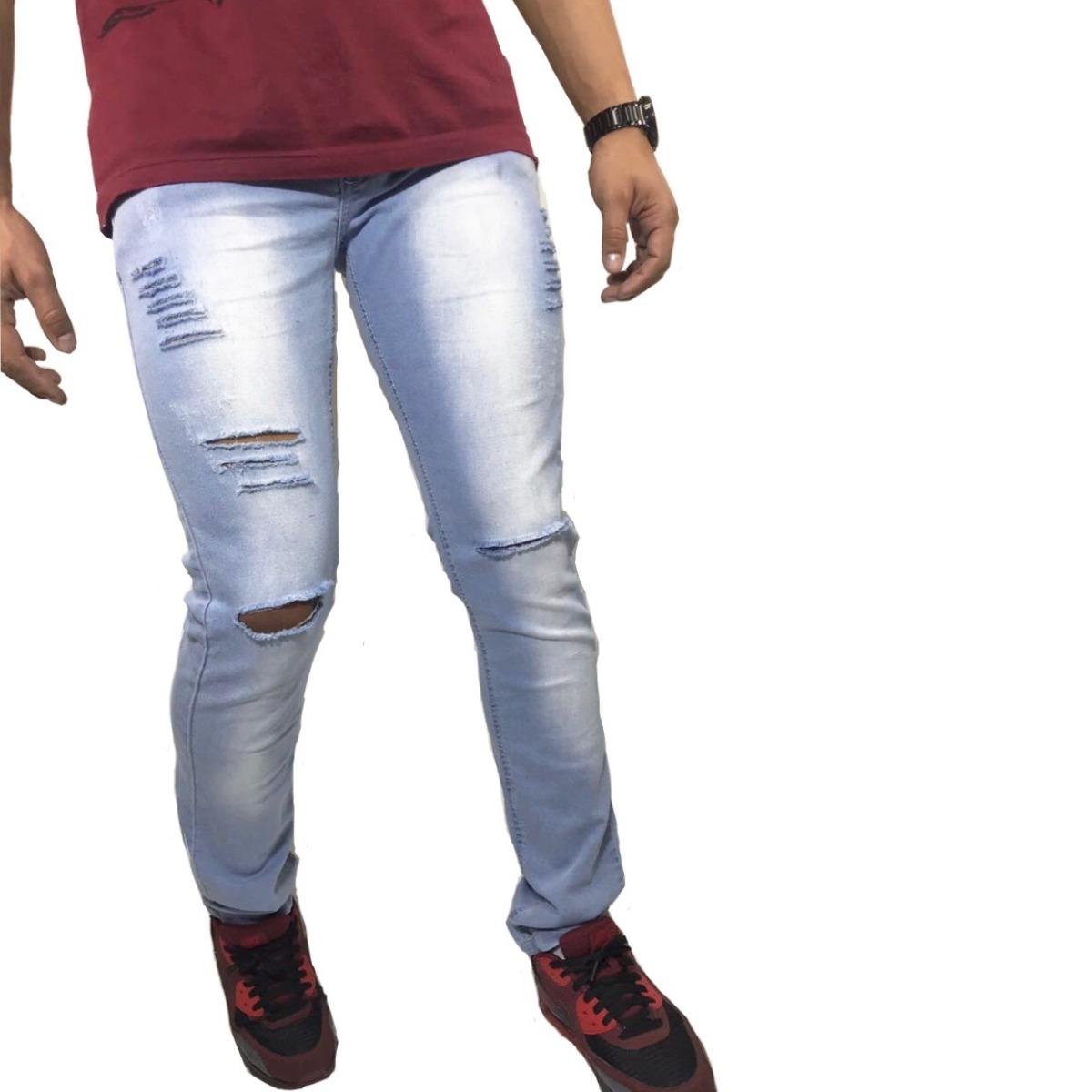 4155ab98a8 calça jeans azul clara de homem rasgada destroyed moda 2019. Carregando  zoom.