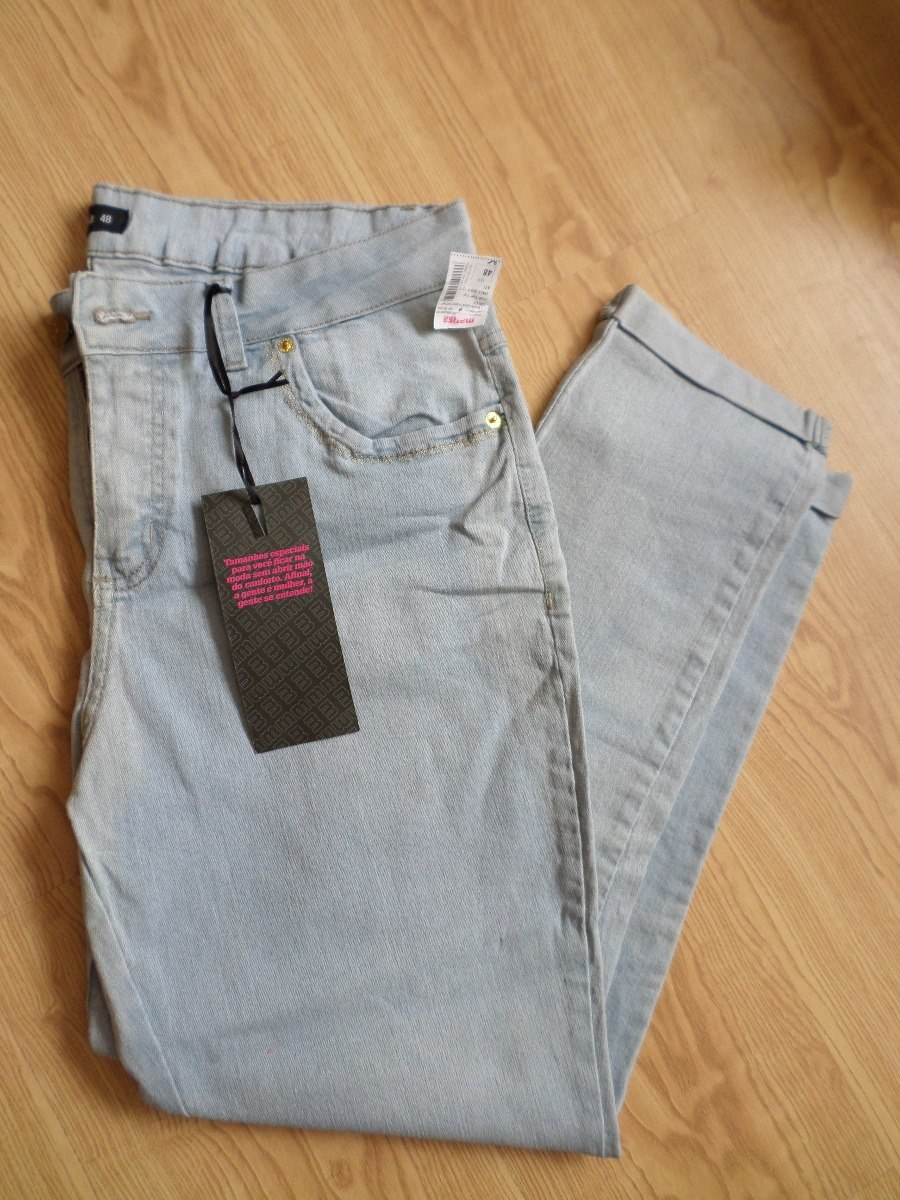 964d059df677a0 Calça Jeans Azul Lavagem Clara 48 Plus Size Marisa Nova!