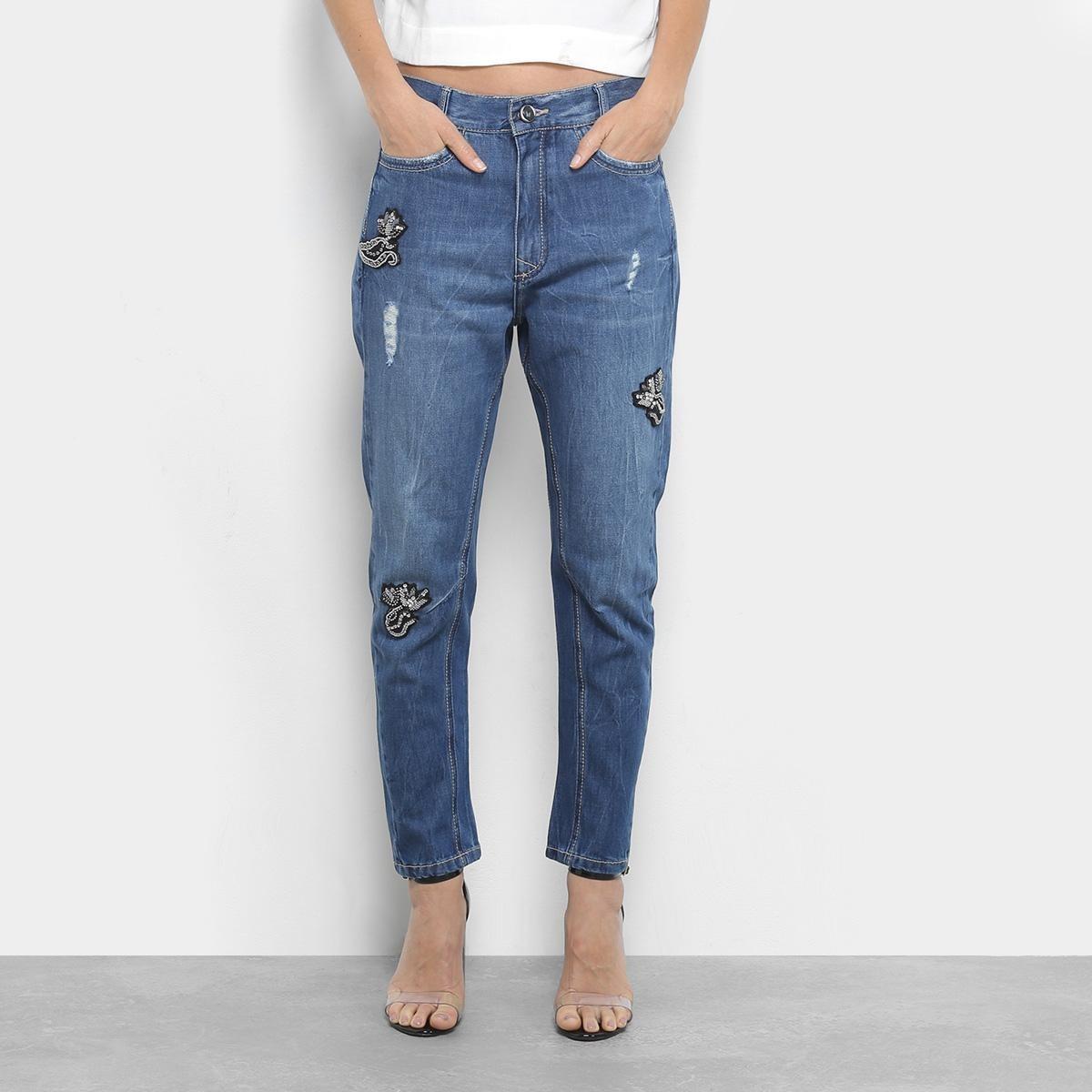 2ddfebc16 calça jeans boyfriend maria filó com patch cintura alta. Carregando zoom.