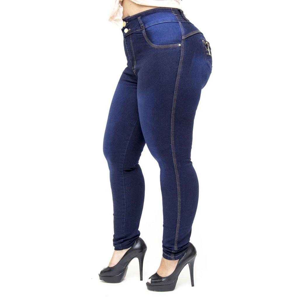 f2f89ee63 calça jeans cheris plus size skinny com elástico nayan azul. Carregando  zoom.