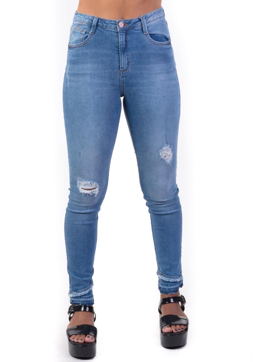 4ac91f24c Calça Jeans Cigarrete Cintura Média Barra Dupla - R$ 139,90 em ...