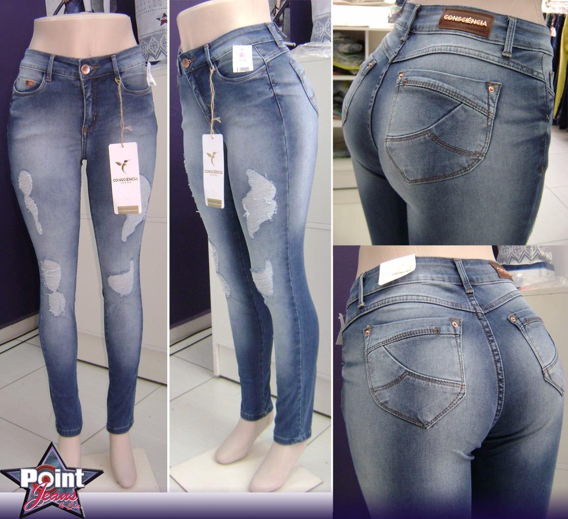 4ed1966a9 calça jeans cigarrete destroyed (rasgos) consciência jeans. Carregando zoom.