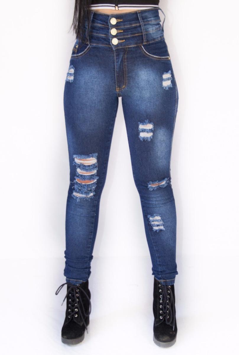 c8332a2b8 calça jeans cintura alta 3 cós rasgada blogueira deluxe pit. Carregando zoom .