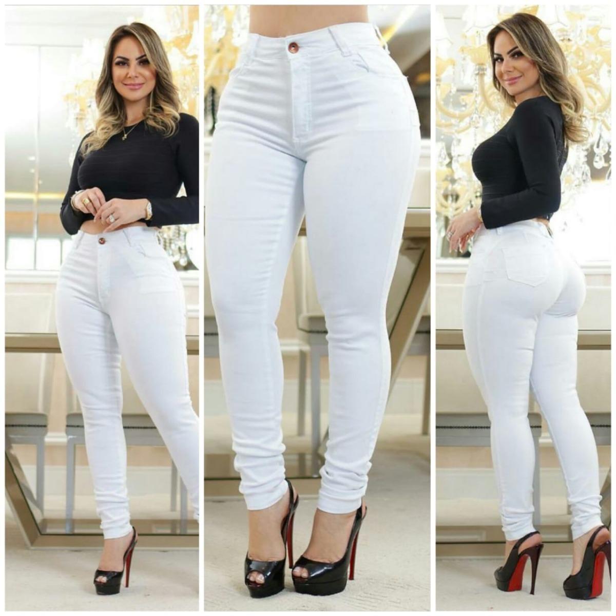 9e995f105 calça jeans cintura alta branca rasgada linda veste bem. Carregando zoom.