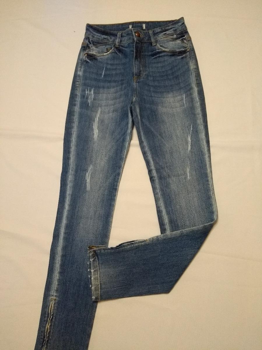 c3ded4b20 calça jeans cintura alta detalhe zíper barra ref c55 nova. Carregando zoom.