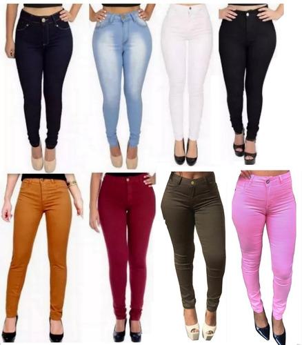 calça jeans cintura alta hot pant levanta bumbum + calcinha
