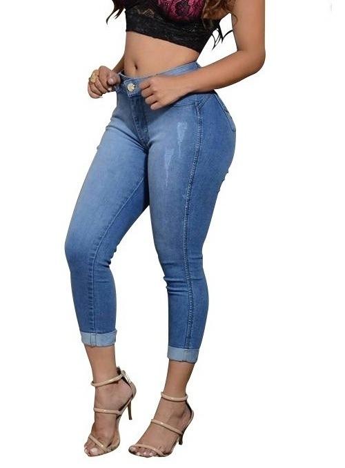 f2bc5d015 Calça Jeans Cintura Alta Hot Pants Levanta Bumbum Moda - R$ 99,90 em ...