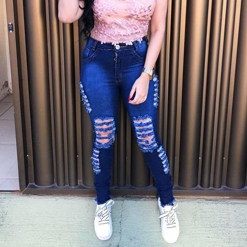 calça jeans cintura alta rasgada manchada clara furada cj006
