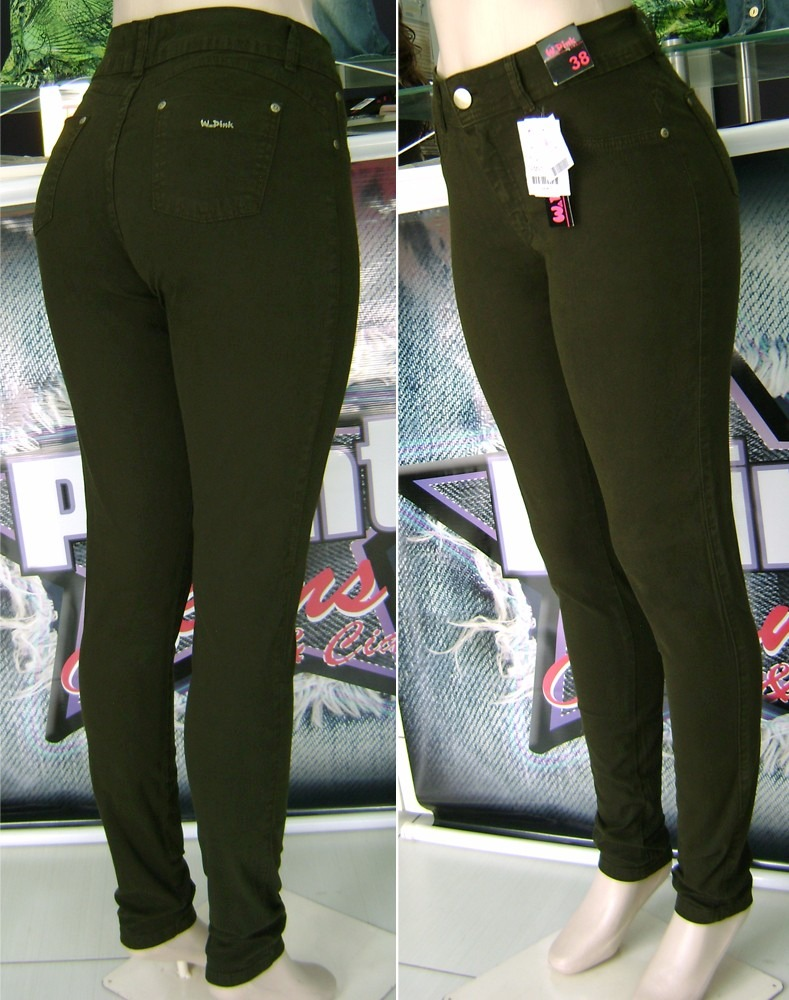 calça jeans color feminina verde militar w.pink. Carregando zoom. f3dc897550574
