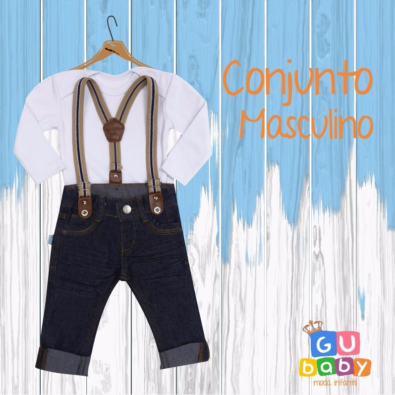 Calça Jeans Com Suspensório Bebê Menino + Body Bebê - R  79 dad56ed78442
